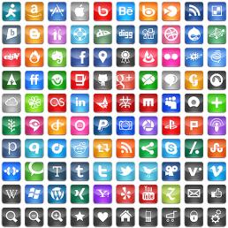 Free social icons squares gloss