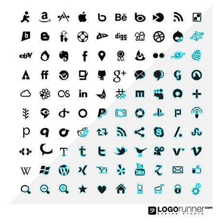 100 vector social media icons