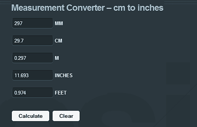 cm to inches