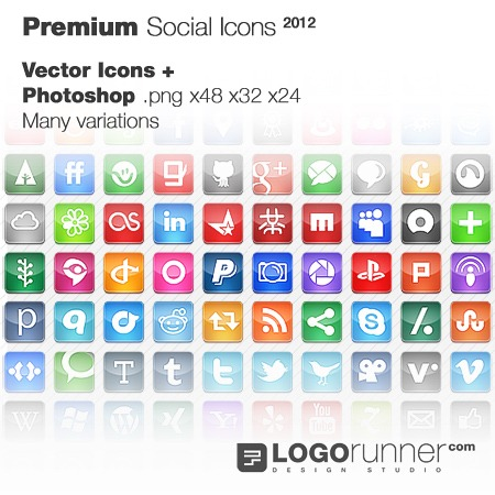 social icons 2012 Free Social Bookmarking Icons