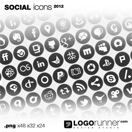 social bookmarking icons in cirlces-grey