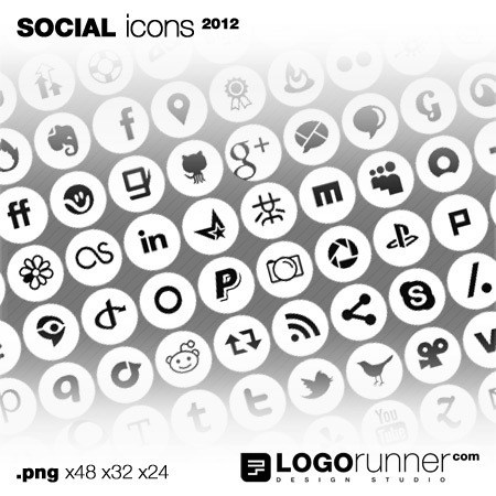 social bookmarking icons in cirlces-white