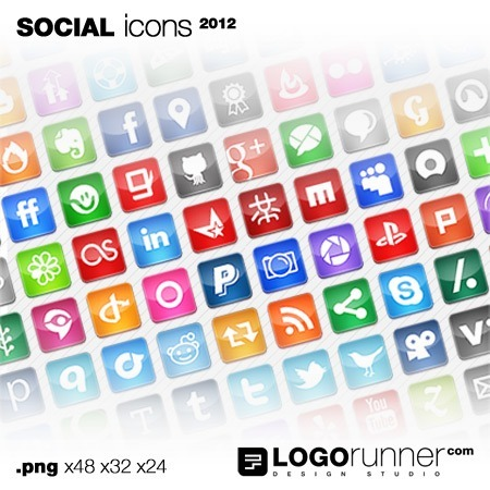 social bookmark icons square-gloss