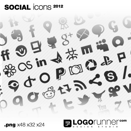 social bookmark icons - grey